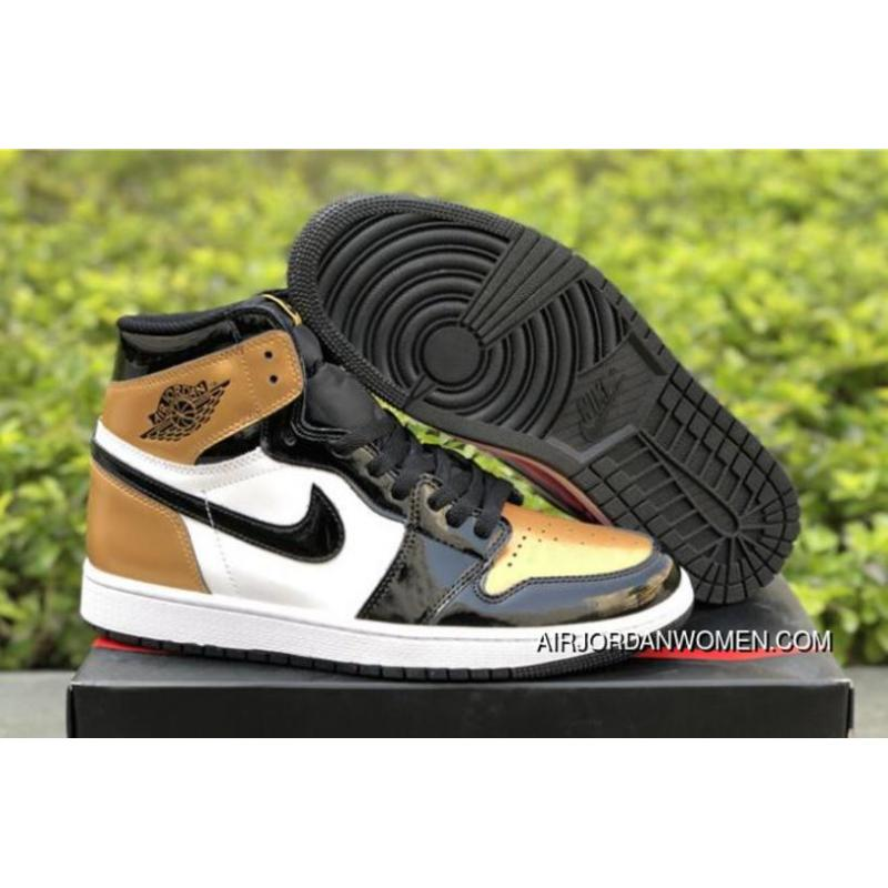 3bc3abe5378a32 2018 Air Jordan Retro 1 High OG Gold Toe Black Metallic Gold-White ...