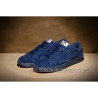 NIKE BLAZER LOW PRM VNTG 443903 Pig Leather Men Navy Blue Christmas Deals