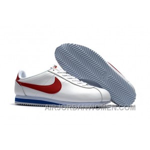 NIKE CORTEZ NYLON PRM White Blue Red Free Shipping MWS8xTh