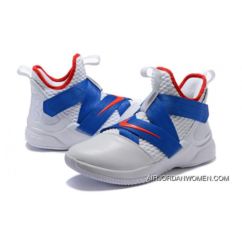 promo code be609 0e05a Nike Lebron Soldier 12 White Blue 2018 New Release