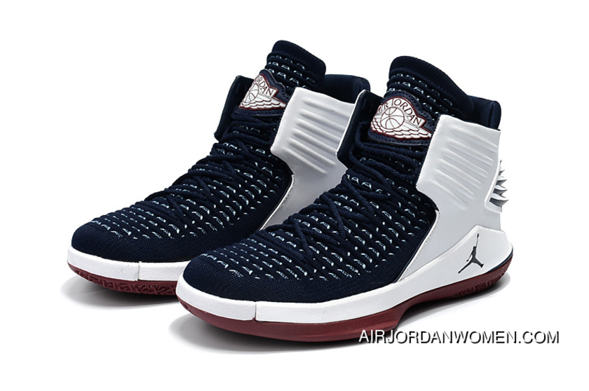 33c02784cad589 2018 Air Jordan 32 Navy Flyknit White-Red New Year Deals