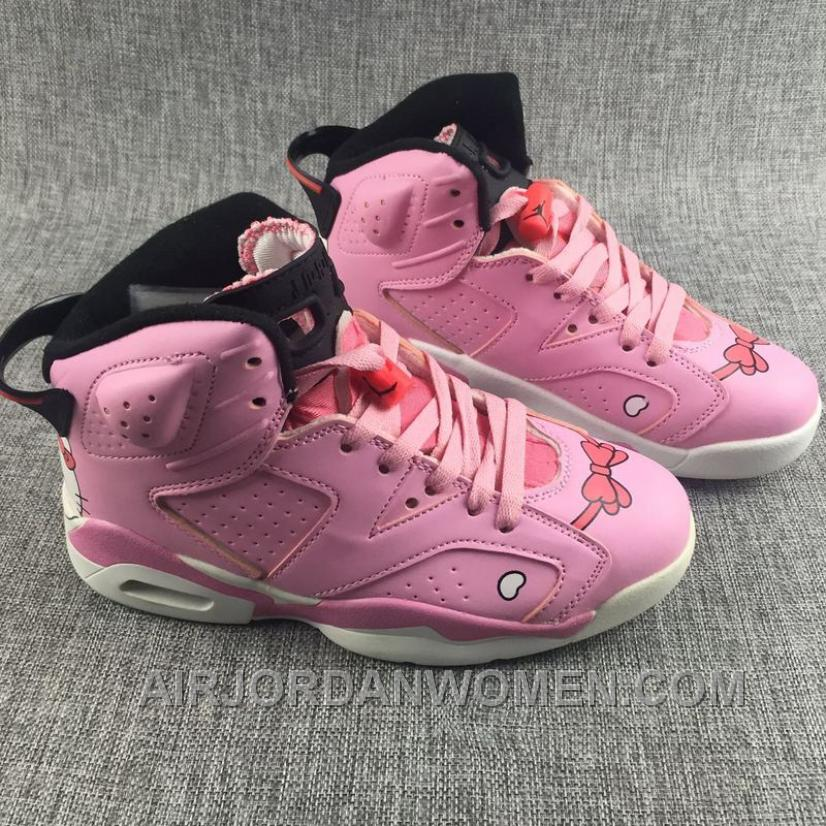 AJ6 Kitty Pink White Kids Shoes Girl Women Size Christmas Deals M5JED