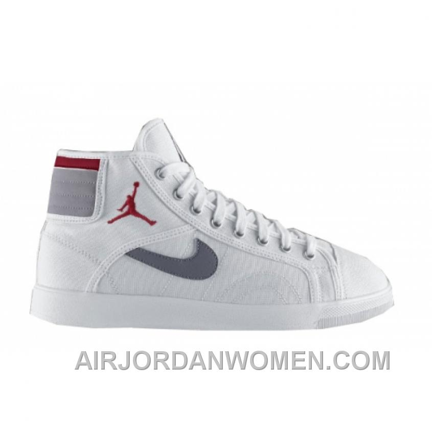 Air Jordan Sky High Canvas White Varsity Red Cement Grey 407282-101 Christmas Deals