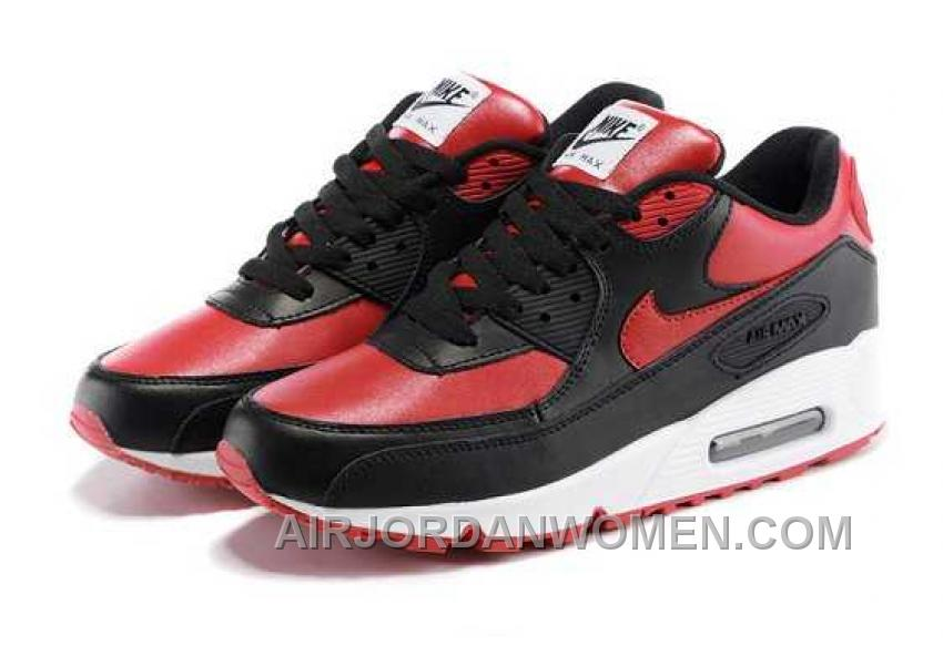 Nike Air Max 90 Womens Black Red White Lastest FrH8C