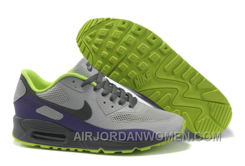 Nike Air Max 90 Hyperfuse Womens Grey Purple Grassgreen Christmas Deals 6NJRW