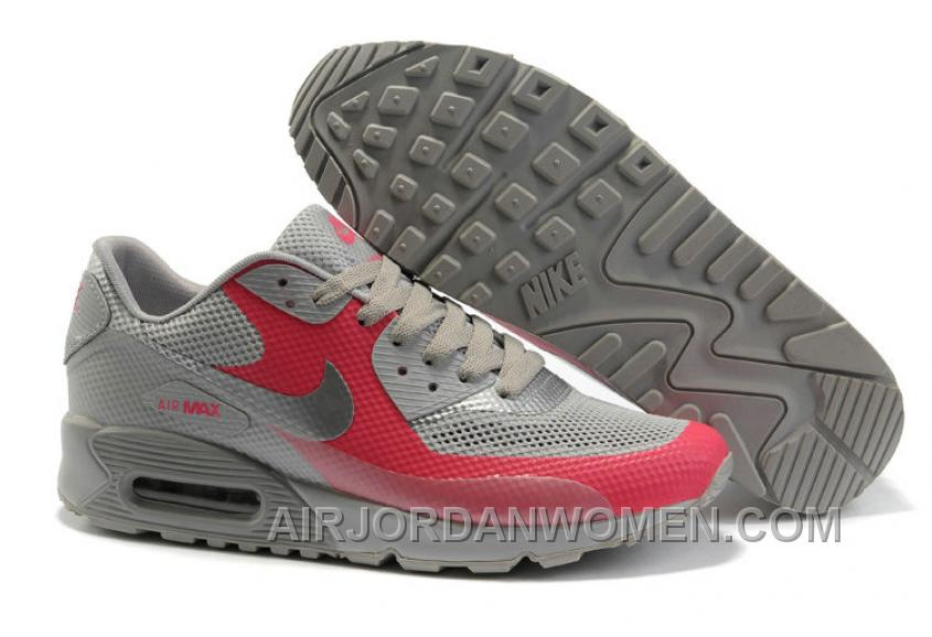 Nike Air Max 90 Hyperfuse Womens Red Grey Top Deals EGZS7