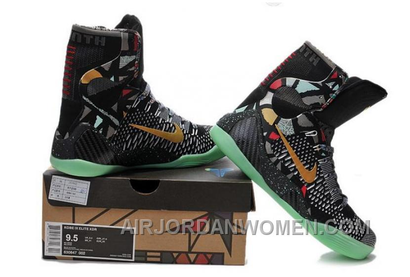 Buy Cheap Nike Kobe 9 2014 High Tops Black Gold Green Mens Shoes Free Shipping EHJTtC