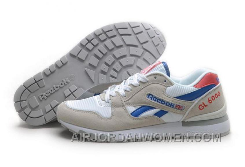 Reebok GL6000 Mens Classic Running White Grey Blue Red Discount Hzt4n