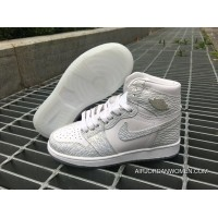 Free Shipping Air Jordan 1 Retro High Gs Frost White White/White-Pure Platinum