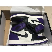 St Version Air Jordan 1 Full Grain Leather Purple Toes Men Shoes Women Shoes 36-39 All Size Best