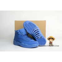 Men Basketball Shoe Air Jordan 12 Blue Suede Super Deals
