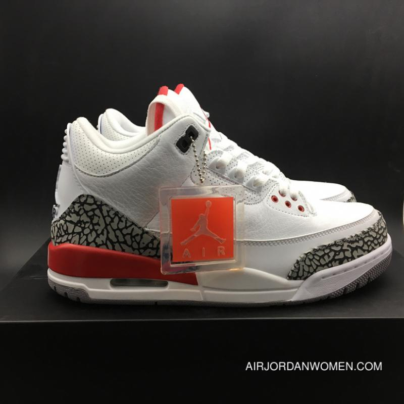 cheap for discount 7aa22 584ca More New Edition Version Jordan Air 3 Katrina Grey Hair Color White Cement  Red FULL GRAIN LEATHER SKU Size8-14 136064-116 For Sale