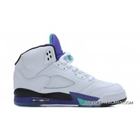 Best Air Jordans 5 Retro White/New Emerald-Grape-Ice Blue