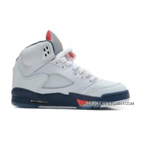 Outlet Air Jordans 5 Retro White/Varsity Red-Obsidian