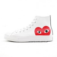 Rei Kawakubo Collaboration Christmas Gift Money COMME Des GARCONS X Converse Chuck Taylor All Star Converse Classic 1970 S Sulfide Sneakers Leather Series White Heart-shaped High 150205 C Discount