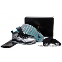 New Style Girls Air Jordan 10 Cement Grey/Black-Tropical Teal Remastered