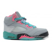 Girls Air Jordan 5 Grey/Teal-Pink Super Deals