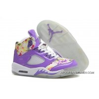 Outlet Girls Air Jordan 5 Purple Cherry Blossom