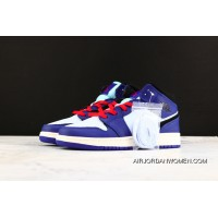 outlet store 0f6df e02eb Air Jordan 1 Mid Top White Blue Red Small Lightning SKU BQ6931 400 Women  Seven Yards
