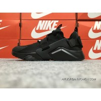 Nike Huarache 5 Air City Low All Black Ink Spot Bottom Velcro AH6804-009 May Be Substituted Super Deals