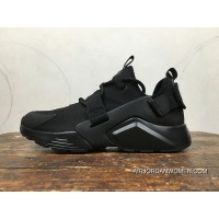 Nike Huarache 5 AIR CITY LOW All Black Heel Velcro Can Change After AH6804-009 Copuon