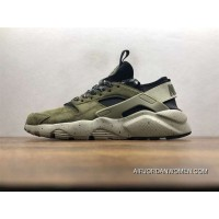 Nike Air Huarache Pig Leather Material Running Shoes Black Green829669-333 Outlet