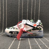 THE 10 Nike Air Max 90 X Off-White Collaboration Half-palm Cushion Running Shoes AA7293-101 Size Discount