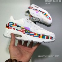The 180 World Cup Limited Nike Air Max 90 NIC QS Retro Zoom Jogging ShoesInternational Banner Flag International AO5119-100 SIZE Free Shipping