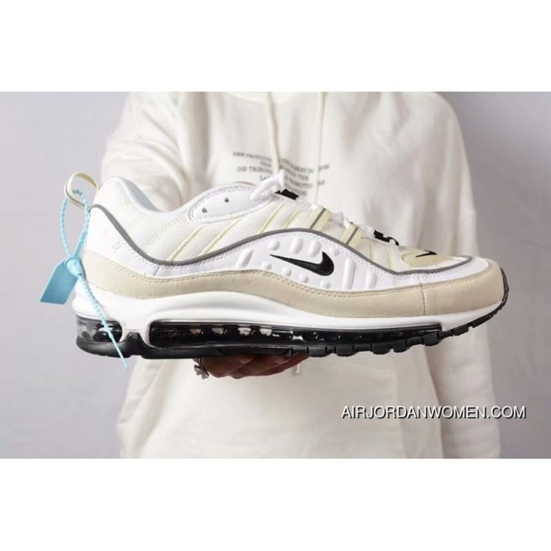 new products 685f5 3cd00 Nike Air Max 98 White/Black-Fossil-Reflect Silver For Sale
