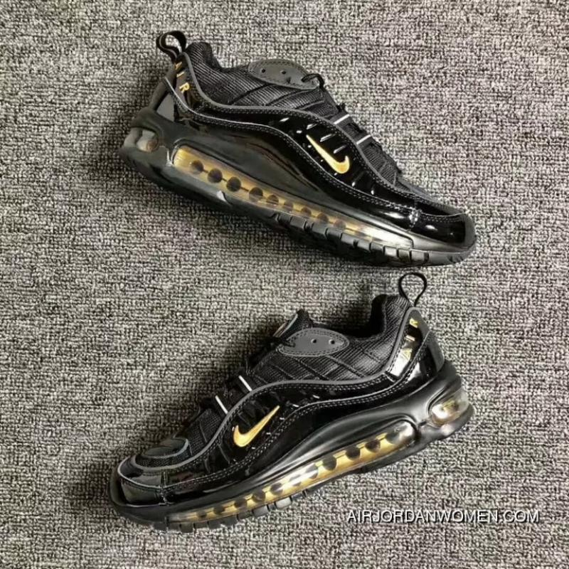 reputable site 39456 44310 Men Shoes Nike Air Max 98 Retro Zoom All-match Jogging Shoes Black Yellow  640744-080 For Sale