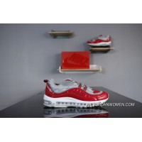 Nike Air Max 98 X Forceful Collaboration 844694-600 Red Grey Snakeskin Patent LeBron James On Foot Retro Running Shoes Type Fine Details New Style