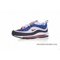 Replenishment Nike Air Max 98 Retro Zoom All-match Jogging Shoes Navy Blue Navy Blue White Red 640744-064 Discount