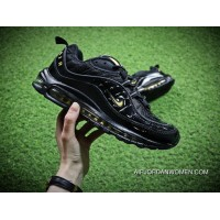 Nike Air Max 98 Retro Zoom All-match Jogging Shoes Black Yellow 640744-080-Men Shoes New Style