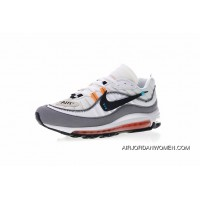 Super Custom Shoes With Virgil Abloh X Nike Air Max 98 The Ten Retro All-match Jogging ShoesOW White Grey Black Tangerine AJ6302-026 Outlet