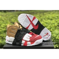 Super Deals 2018 New Supreme X Nike Air More Uptempo Tri-Color Black Red Gold