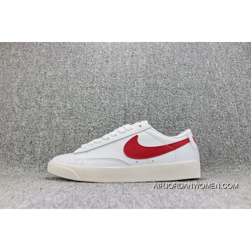 promo code 2e736 9b3f5 Nike Blazer Low LE SB FULL GRAIN LEATHER White Red Hook 454471-105 Women  Shoes And Men Shoes Discount