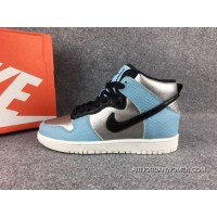 LX Real Picture NIKE DUNK HI Metallic Silver Blue 881233-002 New Year Deals