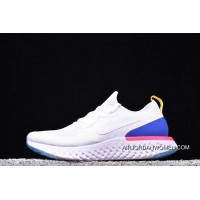 AQ0067-101 Nike REACT FLYKNIT White Blue Red EPIC REACT FLYKNIT Women And Men Running Shoes New Year Deals