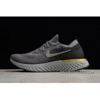 Nike Epic React Flyknit Grey/Black-Gold Running Shoes Aq0067-009 New Year Deals