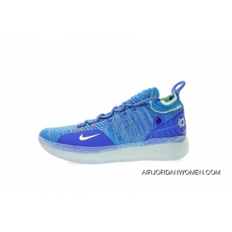 0e24e97c33ac Spring Superman NBA The Ball Shoes Kevin Durant Signature Style Nike Zoom  KD 11 EP Generation Flyknit Mid Top Basketball Shoes The Color Navy Blue  Volt ...