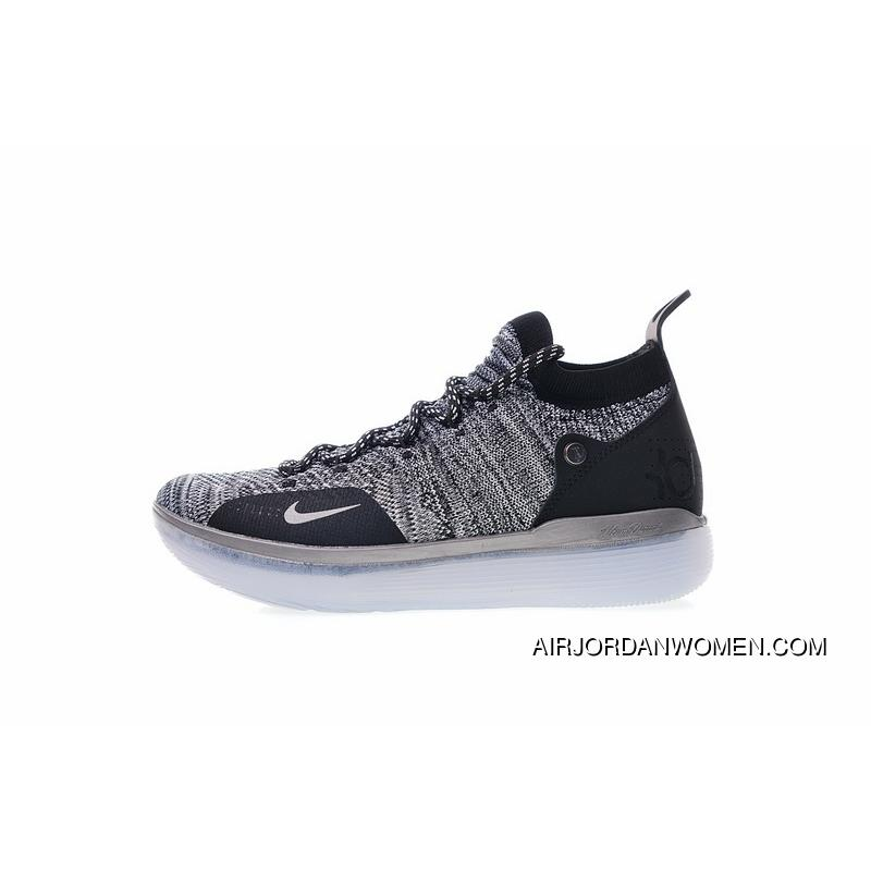 d3393c3236de Spring Superman NBA The Ball Shoes Kevin Durant Signature Style Nike Zoom  KD 11 EP Generation Flyknit Mid Top Basketball Shoes Ice Blue Oreo  AO2605-004 For ...