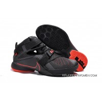 Online Nike LeBron Soldier 9 Black And Red Highlights Basketball Shoe