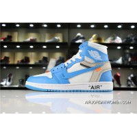 Off-White X Air Jordan 1 'Unc' White/Dark Powder Blue-Cone Aq0818-148 Super Deals