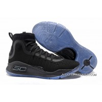 New Release Under Armour Curry 4 All Black/Ice Blue Sole