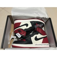 St Version Air Jordan 1 Full Grain Leather Red Toes Women Shoes All Size Latest