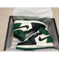 St Version Air Jordan 1 Full Grain Leather Green Toes Women Shoes All Size New Year Deals
