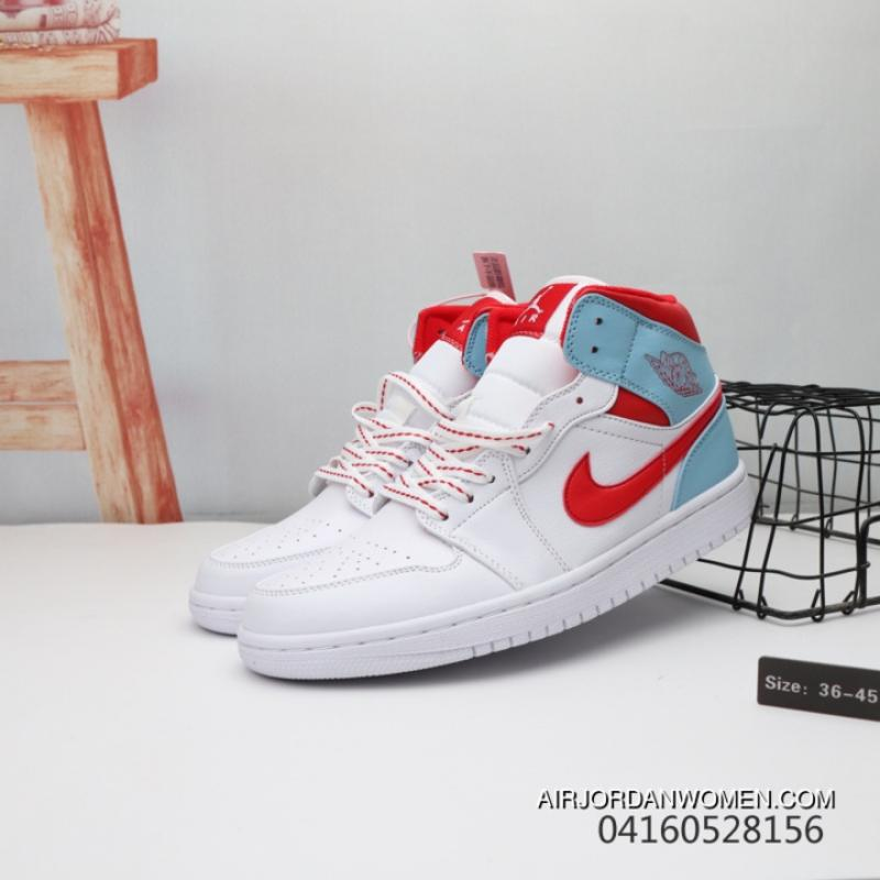 b8ed69eada9 ... Women Men Air Jordan 1 Mid TOPAZ MIST GS AJ1 Unisex White Blue Top  Deals ...