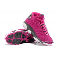 New Style Girls Air Jordan 13 Retro Suede Pink Gray