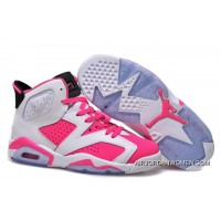For Sale Girls Air Jordan 6 White Pink Shoes