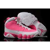 New Release Girls Air Jordan 9 Pink White Shoes